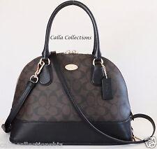 New COACH Signature Cora Domed Satchel Handbag/Purse F33904- Lt Gold/Brown/Black