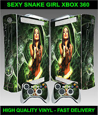 XBOX 360 CONSOLE STICKER SKIN SEXY SNAKE GIRL GRAPHICS & 2 CONTROLLER SKINS