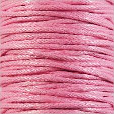 Cordon Coton Ciré 1mm – 4 Mètres Rose clair pour Colliers et Bracelets de perles