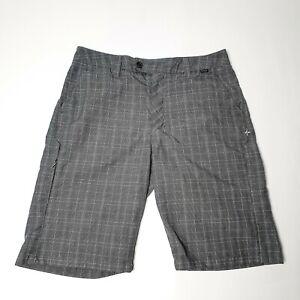 Hurley Mens Size W30 Grey Check Plaid Walk Short Shorts
