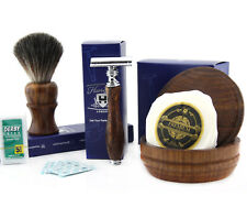 4 PCs Wooden Shaving Set With De Safety Razor,Pure Badger Hair Brush,Soap & Bowl