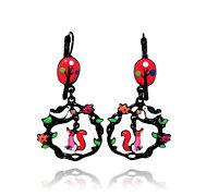 Lol Bijoux - Boucles d'Oreilles le Corbeau et le Renard - Arbre Rouge