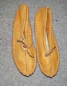 Deerskin Tan Slippers Ladies Size 7 Native Indian Ballet Flats Moccasins