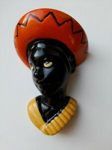 Retro vintage chalkware wall mask face mask wall plaque black boy with hat 1950s