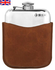 Hand Made Pewter Hip Flask 6oz Captive Top, Tan Leather Sleeve, Free Engraving