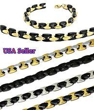 NEW 316L Steel Necklace & Braclet Set Chain & Bracelet Set Men's Jewelry Hip Hop