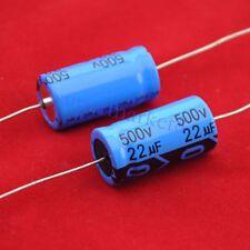 10pcs Axial Electrolytic Capacitor 22uf 500V Tube Amp Hifi DIY