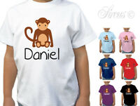 CHILDRENS PERSONALISED MONKEY DESIGN T-SHIRT GIRLS BOYS T SHIRT KIDS ALL SIZES