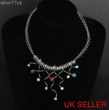 SILVER HAND WOVEN RETRO VINTAGE NECKLACE RHINESTONE DIAMOND CRYSTALS HOT UK FAB