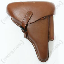 P08 Luger Hard Shell Holster - Brown Leather - WW2 Repro German Gun Carrier Case