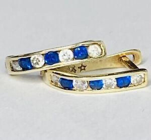 14k Yellow Gold .35 cttw Diamond And Sapphire Earrings
