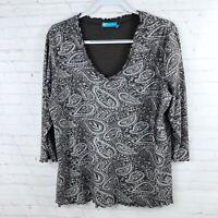 Fresh Produce Women's Size 1X Floral 3/4 Sleeve Shirt Top Scolloped Hem USA