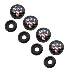 4 Black License Plate Frame Tag Screw Snap Cap Covers USA PUNISHER SKULL H087