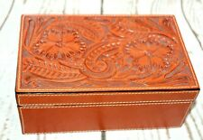 Floral Tooled Leather Jewelry Box 3D/DDD Vintage Flowers Vtg Trinket Case