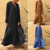 ZANZEA Femme Oversize Loisir Ample Manche Longue Couture Ample Robe Dresse Maxi