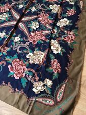 VINTAGE WOMENS SCARF LARGE SQUARE BLUE BROWN PINK PAISLEY FLORAL 70s SILKY sc51