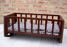 Handmade Wood Rocking 26.5 inch Doll Cradle Crib /Leopard Pillow/Mattress/Quilt
