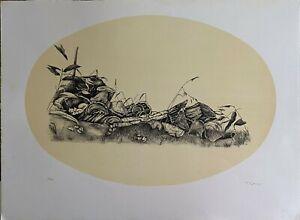 Alessandra Cancogni litografia ovale Rovi  70x50 firmata numerata 34/40