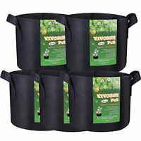 Gallon Grow Bags 5-Pack Heavy Duty Nonwoven Plant Fabric Pots with Handles