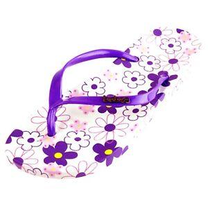 Women Summer Flower Printed Pattern Casual Thong Flat Flip Flops Sandals Slipper