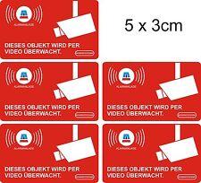 5 Stück Aufkleber Alarm / Video überwacht, Fenster, 5 x 3 cm, innenklebend 050
