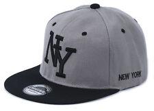 Snapback Cappy Cap Kappe Mütze Herren Basecap NY New York Grau schwarz 53-63cm