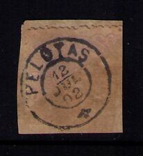 BRAZIL STAMP 1892 SC# 103c USED as 100r on Piece, RARE BISECT, Cat.$875