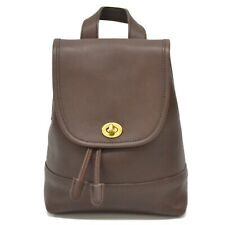 Authentic Coach Leather Backpack Daypack Rucksack Bag Brown Gold