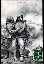HONFLEUR (14) Art Sculpture LOUP de MER & FEMME / EN PERIL 1909