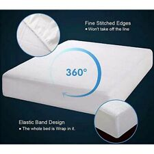 Quilted Waterproof Terry Towel King Mattress Protector Fitted Sheet Bed Cover UK