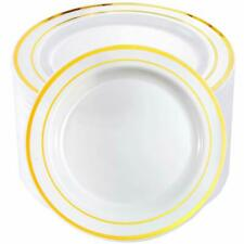 Bucla 100Pieces Gold Plastic Plates-10.25inch Gold Rim Disposable Dinner Plat.