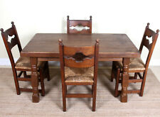 Antique Oak Dining Table And 4 Chairs Country Arts Crafts Rustic Rush Country