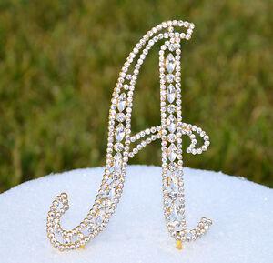 "5"" Crystal Rhinestone Gold Cake Topper Letter Monogram Golden Wedding Top"