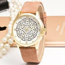 Hollow out flower dial Watch Rhinestone Leather Women Dress Wristwatch Brown MO