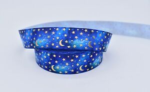 Blue and Gold Foil Moon and Stars 25mm Grosgrain Ribbon per metre
