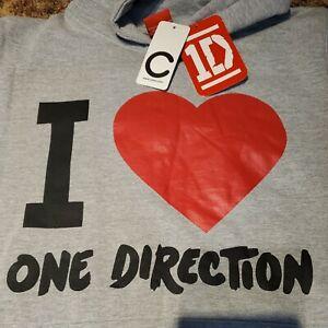 NWT 2013 I Heart One Direction Hoodie Sweatshirt Gray New Sz Small 158/164