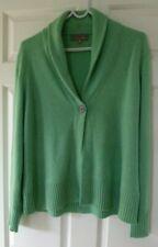 John Lewis Ladies 100% Cashmere Green long sleeve cardigan sz 18