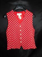 Vintage Liz Claiborne M NWT Red White Polka Dot Vest Button Front Shirt Top 90s