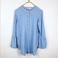 Loft Bell Sleeve Button Down Shirt in Baby Blue Career Dressy