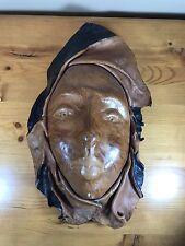 Handmade Vintage Leather Mask Brown Black Face