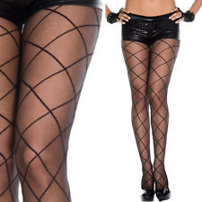 Sheer Black Pantyhose Diamond Thin Striped Design Criss-Cross Pattern Tights OS