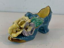 Vintage Miniature Ornate Porcelain Woman's Shoe / Heel w/ Floral Decorations