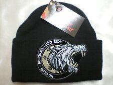Harley Toms No Club Lone Wolf Extreme Beanie Knit Hat Doo Rag Biker Skull Cap