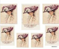 VinTaGe ImaGe ViCtoRiaN LaDy LiLaC FloRaL HaT ShaBbY WaTerSliDe DeCals