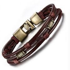 Mens leather vintage style strap wristband bracelet antique bronze clasp