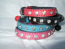 Cat collar real leather Diamante crystal, kitten safety elastic Bling genuine