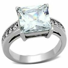 Princess Cut Ring Size 7+1/2 Platinum/Steel Alloy 5.92 Ct Simulated Moissanite