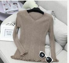 KNITTED VNECK TOP (TG) - DARK BROWN