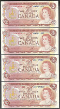 1974 $2.00 BC-47a-i AU-UNC EPQ (4) Consecutive BEAUTY Crisp QEII Two Dollars Set