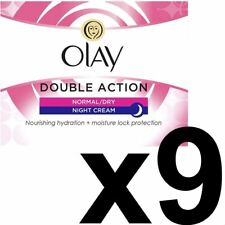 9 x Olay Double Action Moisturiser Normal Dry Skin Night Cream Classic Care 50ml